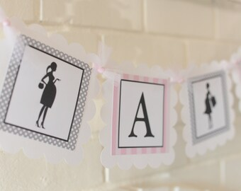 It's a Girl banner, baby shower, pregnant mom, pink grey white