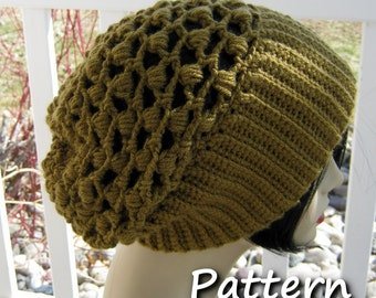 CROCHET PATTERN PDF  Womens winter crocheted hat - Teen's beanie, Instant download, yarntwisted, slouchy hat, knitted hat