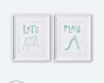 Let's Play Diptych Two Print Set, Modern Nursery Wall Art, Printable Nursery Art, Nursery Decor, Mint and White Kids Room Decor, Boys Room