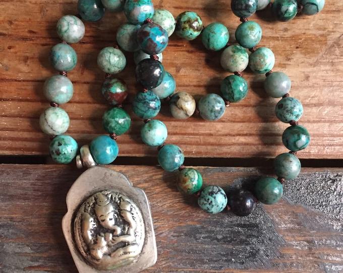 Shattuckite Chrysocolla + Ganesha Prayer Box Mala | 108 Beads | Spiritual Junkies | Yoga + Meditation