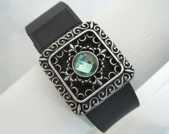 Fitbit Silver Filigree Mint Green Crystal Fitness Bling Surge Charge Hr