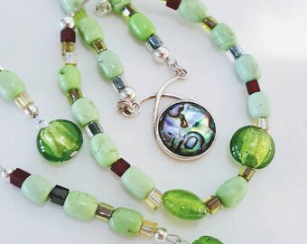 Abalone Shell Pendant, SET, 3 Piece Jewelry Set, Green Beaded Necklace, Glass Crystal, Green Bracelet and Earrings.  Item # S001