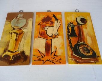 Three Mid Century Modern Paintings