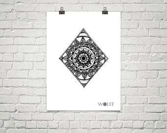 Diamond Mandala Poster