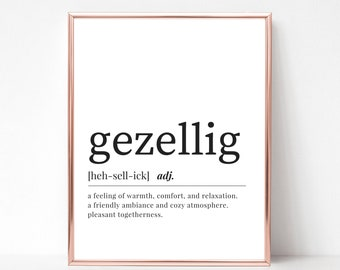 Gezellig Definition Print - DIGITAL DOWNLOAD - Dutch Printable Art - Gezellig Dictionary Print - Dutch Gezellig - Gezellig Print