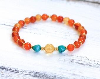 Wrist Mala Beads, Carnelian Bracelet, Turquoise Citrine Mala Bracelet, Spiritual Jewelry, Yoga Jewelry, Boho Bracelet - Healing, Grounding