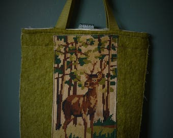 Small bag of vintage blanket with old embroidery