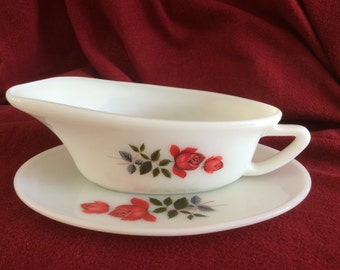 Pyrex JAJ June Rose Gravy Boat and Saucer