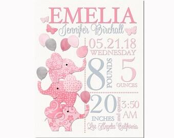 Elephant Nursery art personalized baby girl custom birth stats details statistics announcement wall decor shower newborn toddler gift pink