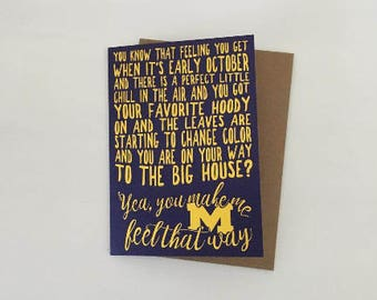 University of Michigan Fall Football Love & Appreciation Card