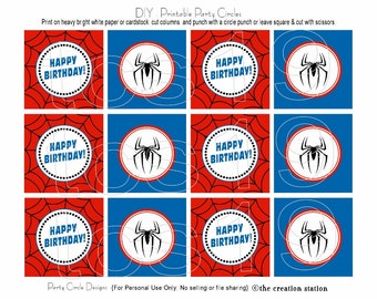 PRINTABLE Party Circles - Spider Hero - Cupcake Toppers - INSTANT DOWNLOAD