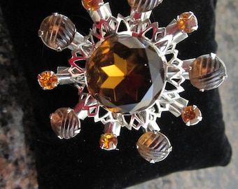 Retro Carved Czech Glass Atomic Starburst Brooch-Amber FREE SHIPPING (US)
