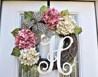 Spring Monogram Front Door Wreath-Pink and Cream Hydrangea Wreath for Door-Mother's Day Gift-Wreath with Burlap Bow-Wreath for Porch