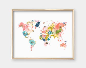 Floral world map etsy art print world map floral map nursery decor office art girly gumiabroncs Image collections