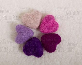 Mini Wool Felt Hearts - Photo Props for Newborn Photography - Set No.5