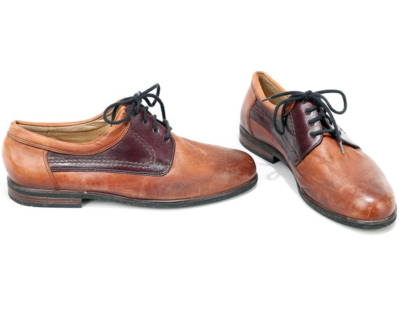 EUR Tone 7 Oxford 40 Shoes Footwear Two Leather women Up Shoes 5 9 UK Retro Lace Manly Vintage 80s Brown US Salamander Shoes Shoes Women q8xS1aq