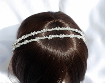 Pearl Bridal Tiara Band, Wedding hair piece, Bridal Hair accessory, Bride Hair band, Wedding Hair, Double Pearl tiara, White pearl aliceband