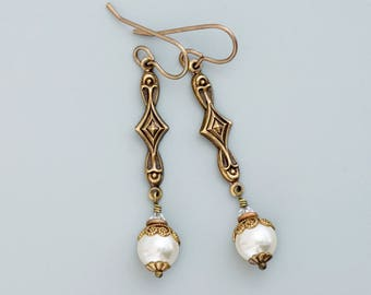 Cream Swarovski Crystal Pearls, Art Deco Jewelry, Cream Pearl Earrings, Art Deco Wedding Earrings, Cream Bridal Earrings Dangle, Granya