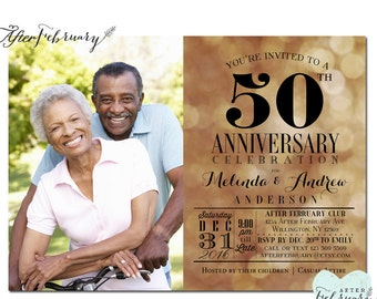 Printable 50th anniversary invitations black and gold
