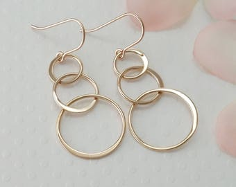 ROSE GOLD Earrings Stocking Stuffer Wife Holiday Gift 30th Birthday Gift for Her Gift for 3 Best Friends Gift Christmas Gifts for 3 Sisters