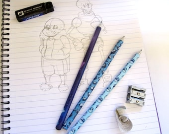 THREE Undertale Pencils // Merch, Stationery, Sans, Papyrus, Temmie, Custom, Gift, Napstablook, Recycled, School, Cute, Office Supplies