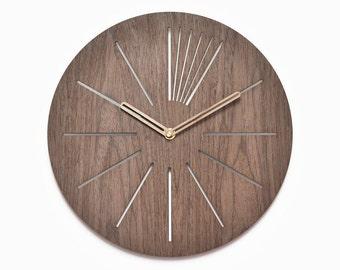 Modern wooden clock 40 cm - 16 in | geometric clock | laser cut wall clock | veneer wall clock|  decorative clock |