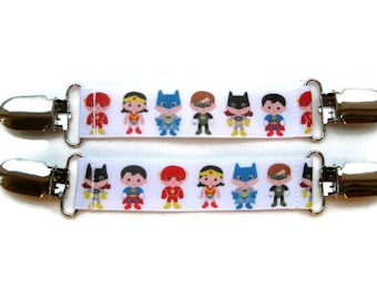 Childrens Mitten Clips- Comic Book Superhero MITTEN CLIPS- Kids Mitt Clips- Mitten Leash- Glove Clips for Kids Jacket- Kids Gift Idea