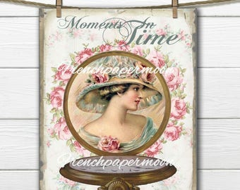 Shabby Victorian Lady, Mother's Day Digital Collage, Vintage Timepiece, Digital Pocket-Watch, Moments in Time French Pillow Transfer Graphic