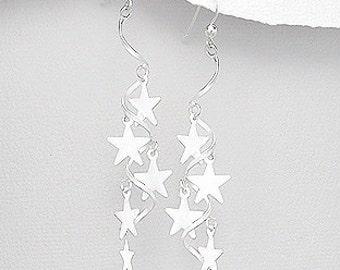 Sterling Silver Stars spiral long drop Earrings