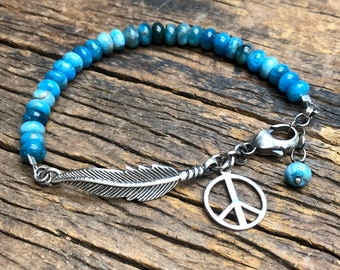 Blue Apatite,  Feather and Peace Sign Bracelet