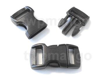 """100 3/8"""" Contoured Side Release Buckles Black Webbing Straps Paracord Bracelet H78-100"""