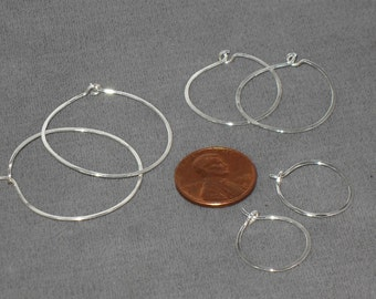 A Set of Sterling Silver Hoop Earrings