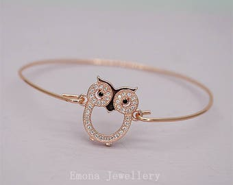 Owl Bracelet, Rose Gold Bangle, Owl Bangle, Owl Jewelry, Rose Gold Charm Bracelet, Friendship Bracelet