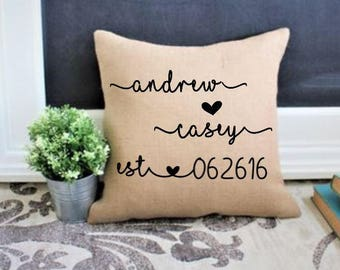 wedding gift for couples, gift for bride,  2nd wedding anniversary gift, gift for groom gift for wife,wedding date pillow, engagement gift