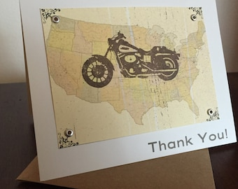 Motorcycle & Map Screen-Printed Thank You Card