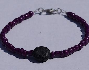 Custom colour lava rock beaded bracelet
