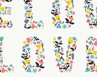 Love Blooms, Floral Text Print, Art Gallery Fabric