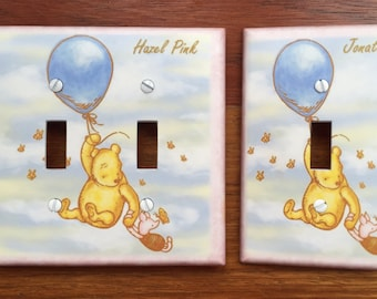 Classic Winnie the Pooh light switch Piglet balloon baby nursery Personalized // SAME DAY SHIPPING**