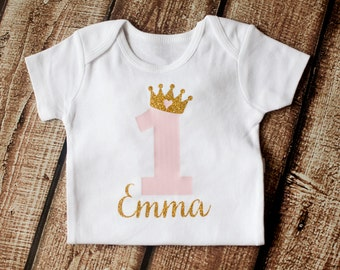 Baby Girls First Birthday Onesie, 1st Birthday Outfit, First Birthday Outfit, Personalized Girls Gold Pink Princess Shirt, BODYSUIT ONLY