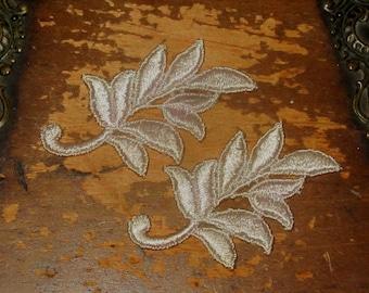Hand Dyed Venise Lace Appliques Leaf Accents Set of 2 Blush Creme