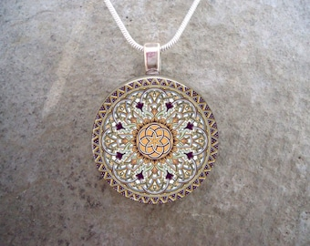Celtic Jewelry - Glass Pendant Necklace - Celtic Decoration 32
