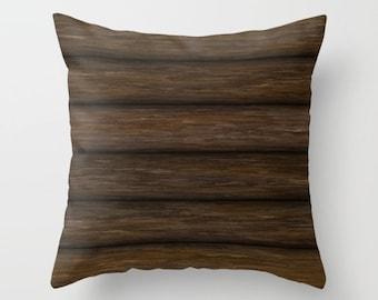 Log Cabin Pillow, Rustic Pillow, Throw Pillow Cover, Log Pillow, Log Cabin, Brown Pillow, Wood Cabin, Wooden Logs, Wood Logs, Nature Pillow