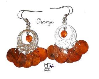 """""""Orange"""" Pearl chandelier earrings"""