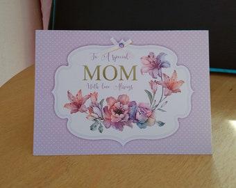 Mom Birthday Card - luxury quality bespoke UK handmade