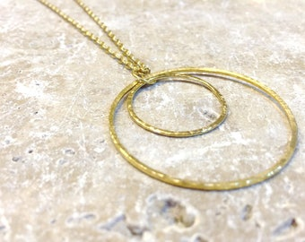 Gold circle necklace, with hammered brass double rings