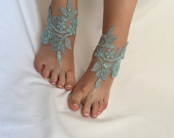 WEDDING SHOES! Bridal lace sandals, Turquoise Blue Barefoot Sandals, Beach wedding, Barefoot Sandals, Blue Lace Sandals, Foot jewelry,