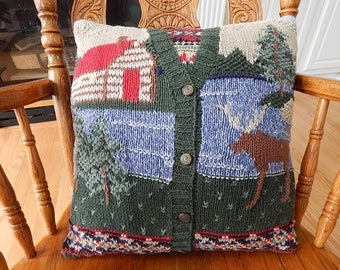 Pillow crafted from a Cotton Sweater, Cabin, Moose, Lake