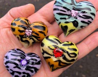 Valentine's Day Special *Multi-Colored Tiger Bubble Heart w/ Cubic Zirconia