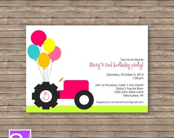 Girl Tractor Birthday Party Invite Printable DIY