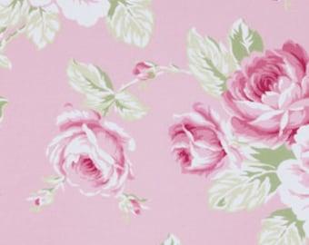 sunshine roses full bloom rose in pink tanya whelan free spirit fabrics  pwtw072pink